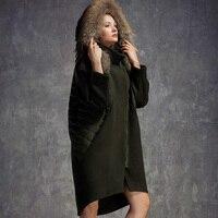 בתוספת גודל נשים מעיל חורף 2016 למטה מעיל פרווה גדול ברווז למטה טלאים נשים חורף צמר הלבשה עליונה מצמר מכסה המנוע מעיל