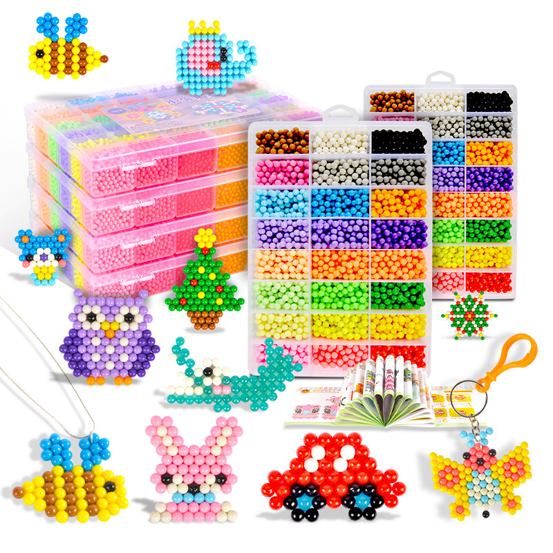 6000 Pcs DIY Magic Waternevel Beads Animal Molds Hand Making 3D Puzzle Kids Educational Beads Toys For Children Spell Replenish