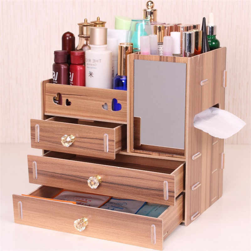 Wooden Makeup Storage Box Jewelry Container Handmade Cosmetics Organizer  With Mirror DIY Desktop Lipstick Boxes Sundries Case