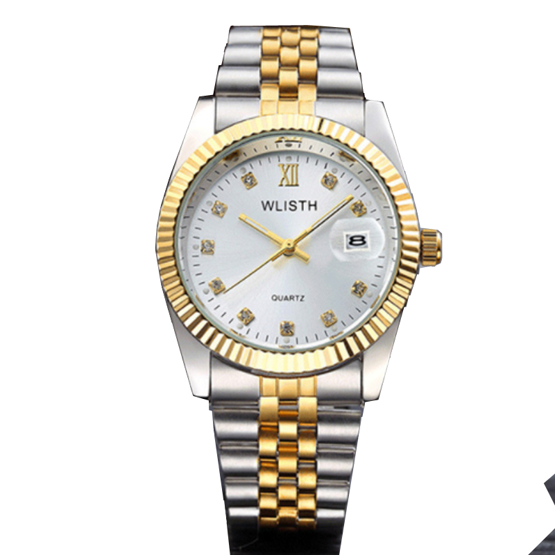 WLISTH Top Brand Luxury Gold Watch Lady Men Lover Full Stainless Steel Quartz Waterproof Male For Men Analog Auto Date Clcok