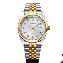 WLISTH Top marka luksusowy złoty zegarek Lady Men Lover pełne nierdzewne stal kwarcowy wodoodporny męski dla mężczyzn analogowy Auto data clcok tanie tanio Moda casual QUARTZ Stop 3Bar Składane zapięcie z bezpieczeństwem 10mm Szkło WLISTH Q354 220cm Nie pakiet 35mm STAINLESS STEEL