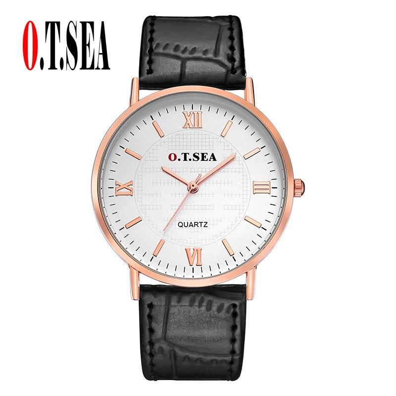 New Arrive O.T.SEA Brand Roman Numerals Leather Watches Men Women Ladies Fashion Dress Quartz Wristwatch 6688-7