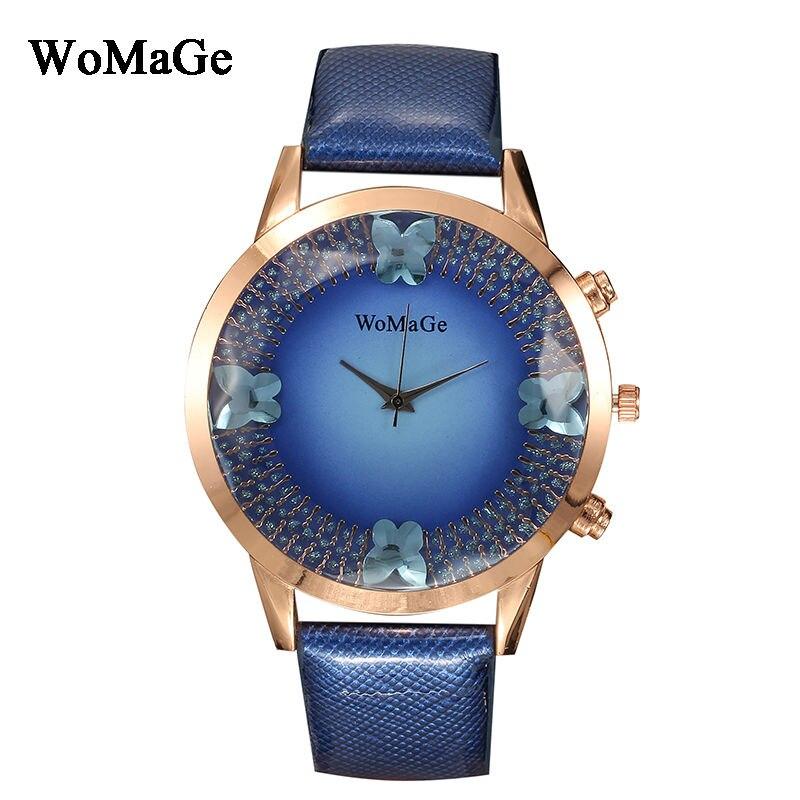 Nouveau Mode 3D Papillon Rose Cadran En Or Top marque De Luxe quartz Femmes casual En Cuir montres Dame chaude Horloge Reloj mujeres