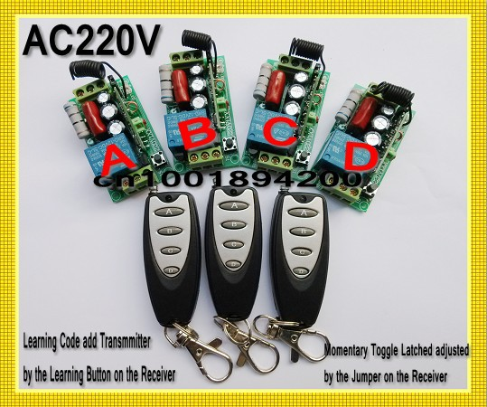 AC220V Remote Control Switch 4 Receiver 3 Transmitter Learning Code Momentary Toggle Latched adjusted 10A  Mini Transmitter 315 433mhz 12v 2ch remote control light on off switch 3transmitter 1receiver momentary toggle latched with relay indicator