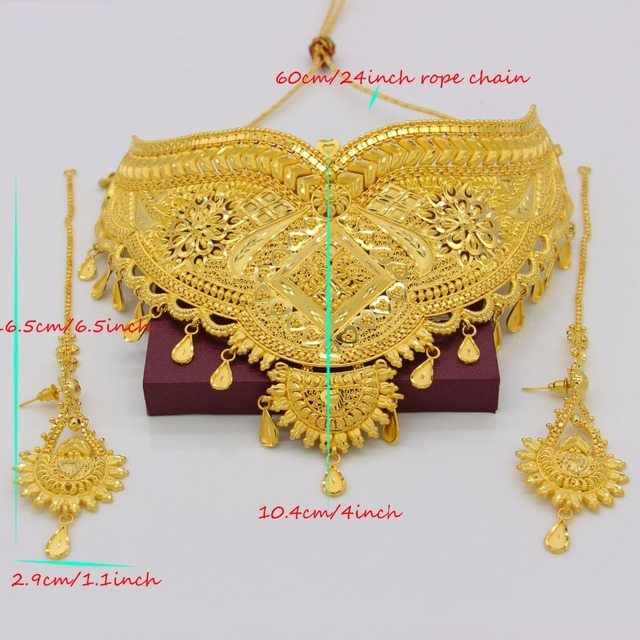 Adixyn 60cm/24inch Rope Chain&Earrings Jewelry Set for Women Gold Color/Copper Jewelry Ethiopian/Arab Wedding/Party Accessory