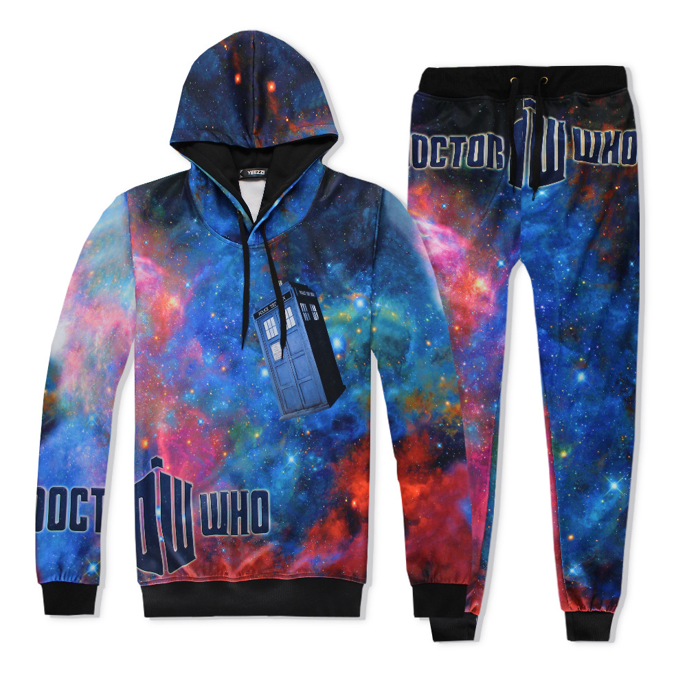 2017 Hot 2 Piece Set Men And Women Casual Tracksuits 3D Print Starry Fashion Hoodies Hooded+Pants Sweatshirt Track Suit S-XXL