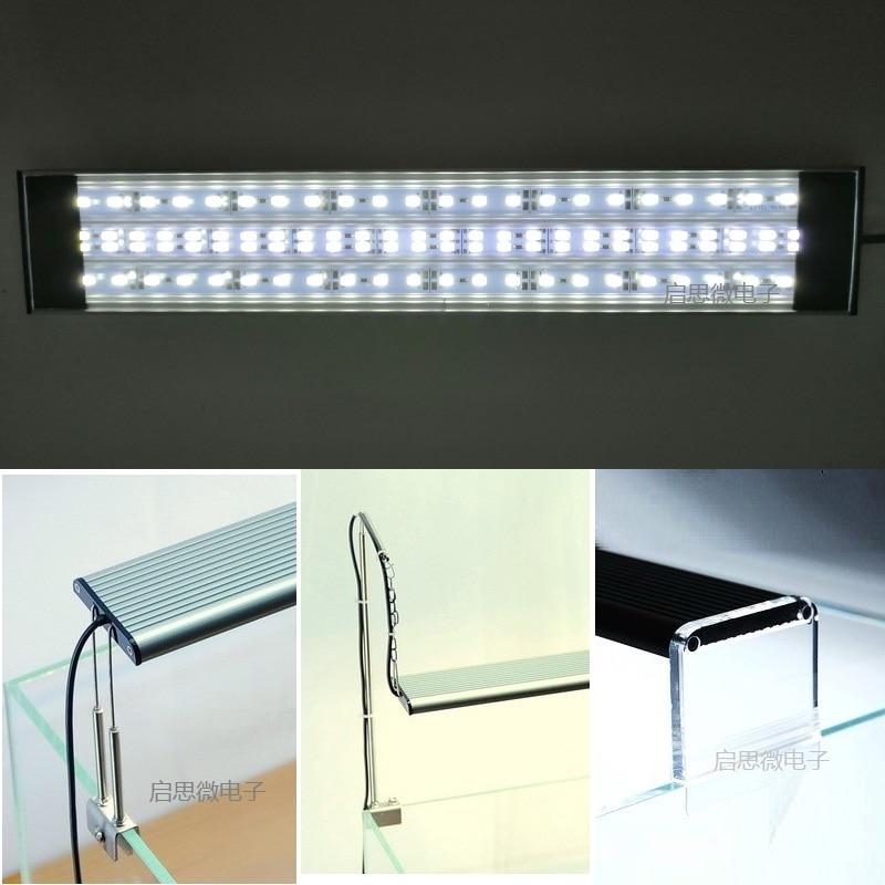1pc akvárium könnyű hal tartály ultra fényes SMD LED fénylámpa csillogható 30/40/50 / 60cm fehér vízi növények akvárium LED világítás