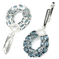 Long Drop London Blue Topaz, White CZ Created SheCrown Wedding  Silver Earrings 50x21mm