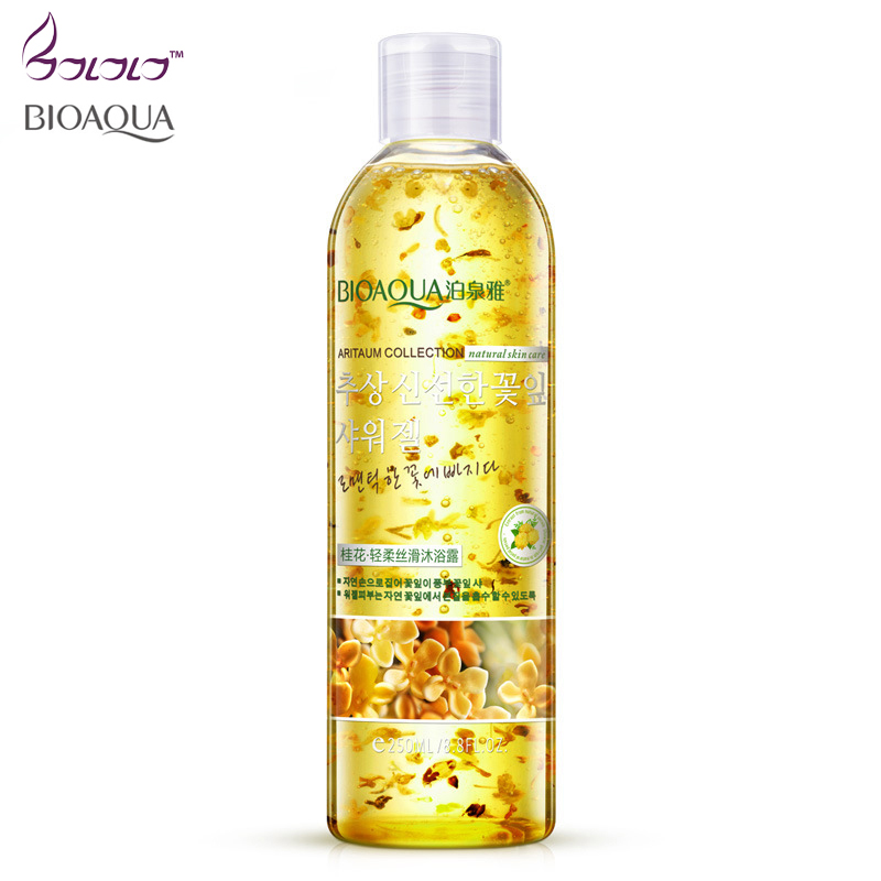 Bio Aqua Brands Osmanthus Silky Gel Bath Moist Lotion Oil Body Wash Shower Gel Bottles Skin Care Fragrant Soothe Skin Whitening