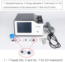Portable Low intensity shock wave therapy equipment for ED erectile dysfuncti New digital hand pieces  7pcs different size heads