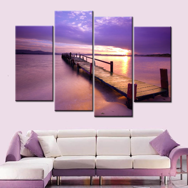 4 Pieces Por Warm Purple Modern Wall Painting Beach Sunset Sea Bridge Home Art Landscape