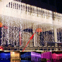 Cascada Al Aire Libre 6 m x 3 m 600 Led de Hadas Cadena Cortina de Luz de Navidad Jardín Del Banquete de Boda Telón de Fondo Decoración 220 v Luz