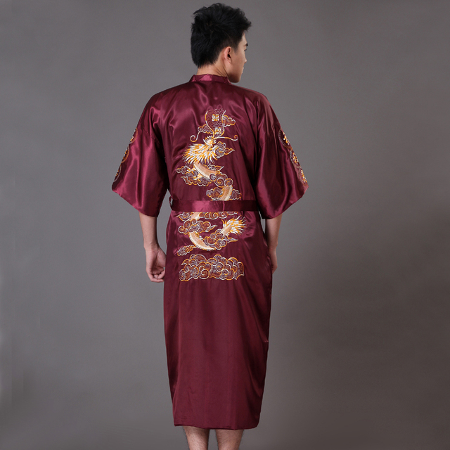 High Quality Burgundy Men's Kimono Bath Gown Chinese Style Satin Robe Embroidery Dragon Sleepwear Pijamas Plus Size XXXL MP066