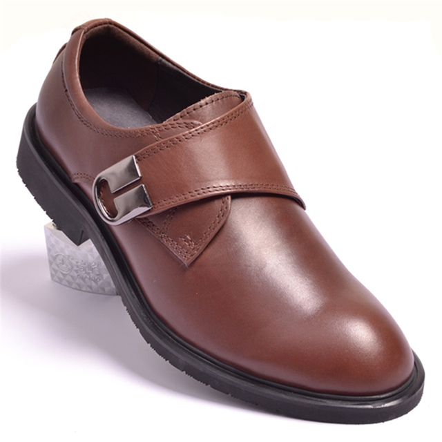 d40a2dafb87f3 CLUB Men Shoes Male Genuine Leather Casual Formal Dress Shoes Black Coffee  Business Velcro Wedding Shoes 38-44 14256