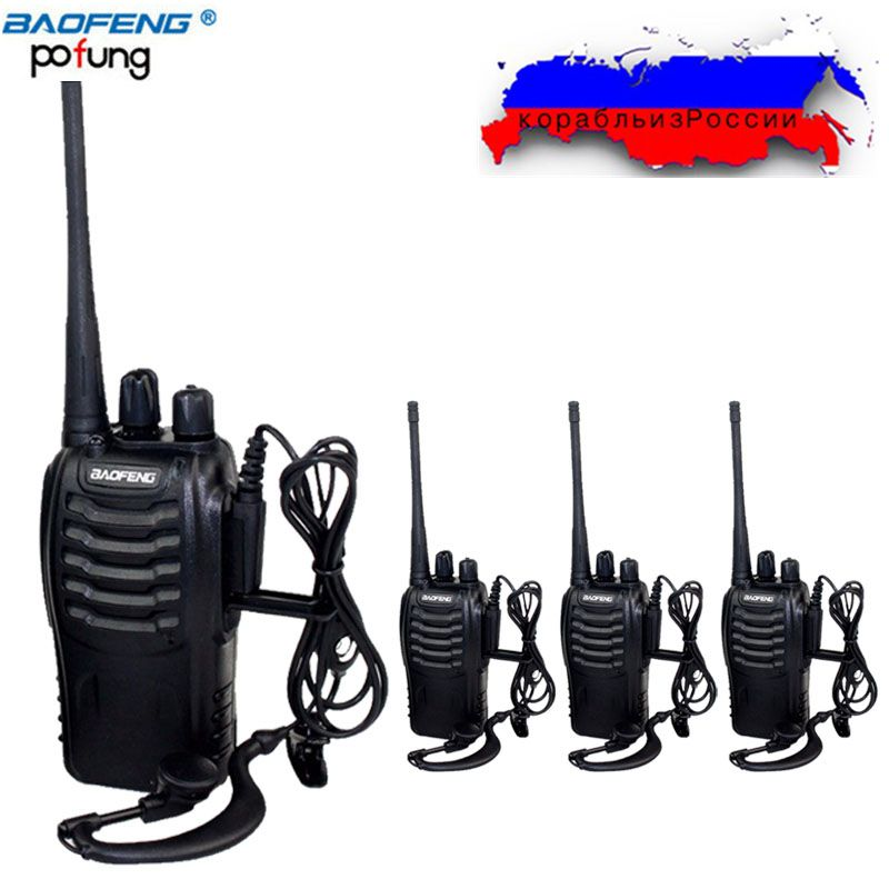 4 pcs Baofeng BF-888S Mini Talkie Walkie Portable Radio CB radio ensemble BF888s UHF 888 s Comunicador Émetteur Émetteur-Récepteur + 4 casque