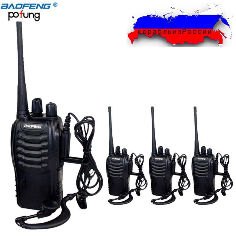 4 pièces Baofeng BF-888S mini talkie-walkie radio portable CB appareil de radio BF888s UHF 888 S Comunicador Émetteur Émetteur-Récepteur + 4 Casque