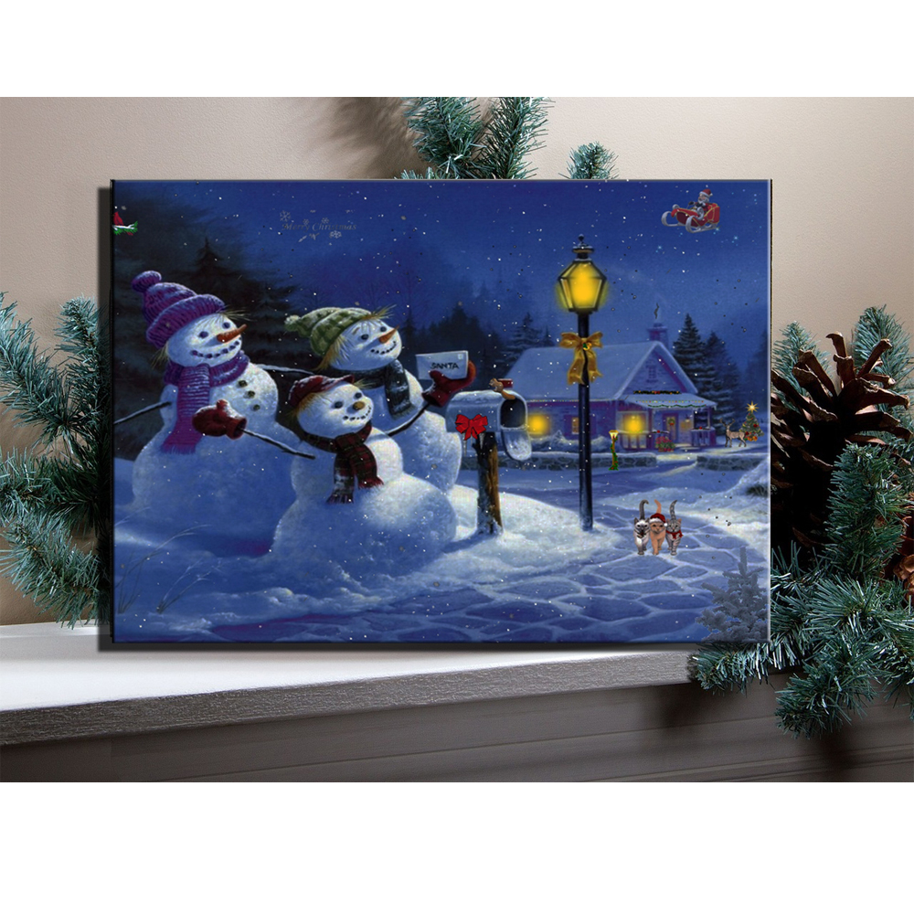canvas wall art with led lights up cartoon snowman with christmas rh aliexpress com  christmas painting with led lights
