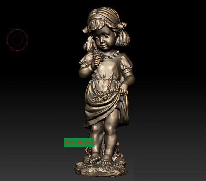3D Model Stl Format, 3D Solid Model Rotation Sculpture For Cnc Machine Cute Little Girl