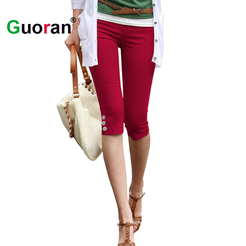 Summer   Capri   Leggings For Women 2018 Red Black White Stretch Pencil   Pants   Ladies Casual Skinny Trousers Plus Size 4xl Trousers
