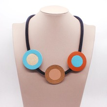 D&D New Fashion Imitation Leather Chain Necklaces Pendants Women Sweater Jewelry