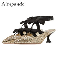 Sexy Kitten Heel Pumps Slingbacks Ankle Wrap Shallow Pointy Toes Bling Glitter Gold Sliver Heels Women