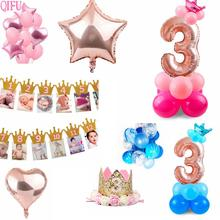 QIFU 3 Year Old Happy Birthday Party Decorations For Kids Girl Blue Boys 3rd Supplies Star Balloons