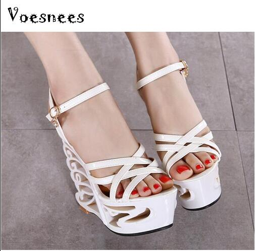 High Quality Buckle Strap Sexy Strange Style Heel Summer Women Shoes Retro Novelty Sandals 15cm High Heels Nightclub Shoes 2016 summer medium strange rhinestone heels women suede sandals ankle buckle leopard print high quality ladies sexy dress shoes