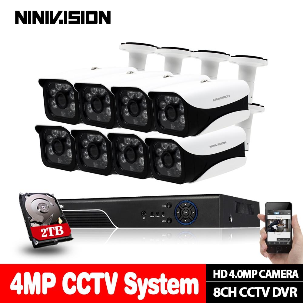 8CH système de vidéosurveillance AHD 4MP DVR HDMI 8 pièces HD 4MP IR résistant aux intempéries extérieur 4.0MP caméra de vidéosurveillance système de sécurité à domicile Kits de Surveillance