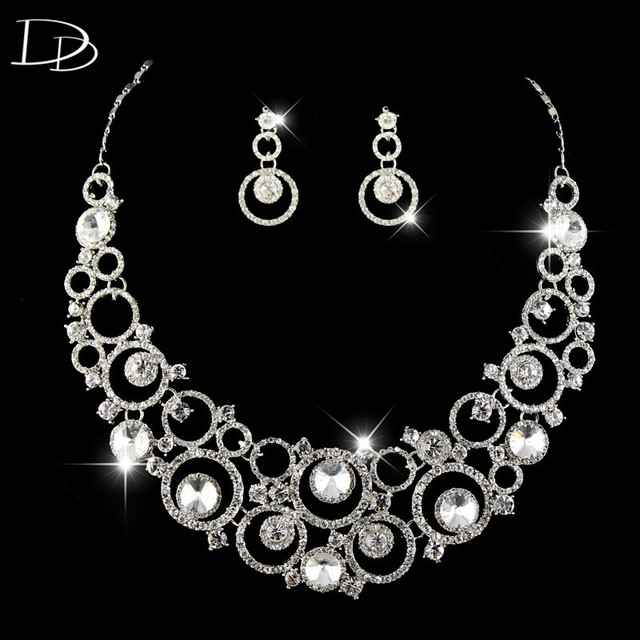 romantic crystal jewelry set for brides round design necklace & earrings for women charming crystal bijoux high quality HD013