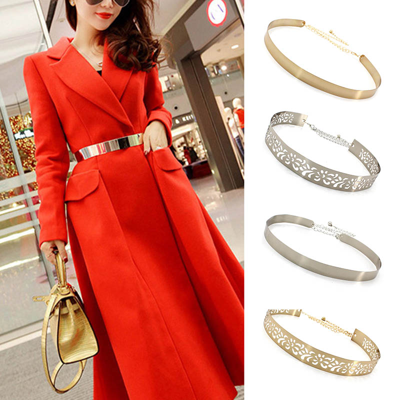High Quality Retro Elegant Metal Wide Belts For Women Coat Dress Wild Golden Waistband Wide Waist Chain Luxury Metal Chain Belt