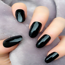 24PCS Black Oval Fake Nails Short Impress Acrylic Nail False Artificial Plastic Finger For Girls Clear Bling Nep Nagels