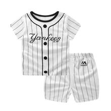 Baby Boys Clothing Sets Baseball Uniform 2pcs/set Baby Girls Clothes Cartoon Blue Whale Short Sleeve Infant Cotton Underwear(China)