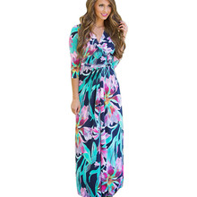Elegant Ladies Sexy V-neck Sashes Dresses Three Quarter Sleeve Print Long Dress Vestidos Feminino Blue Floral
