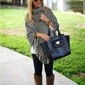 Women's Fashion Girls Stylish Sweater Striped Three Quarter Sleeve High Collar Irregular Tassels Soft Top Outwear