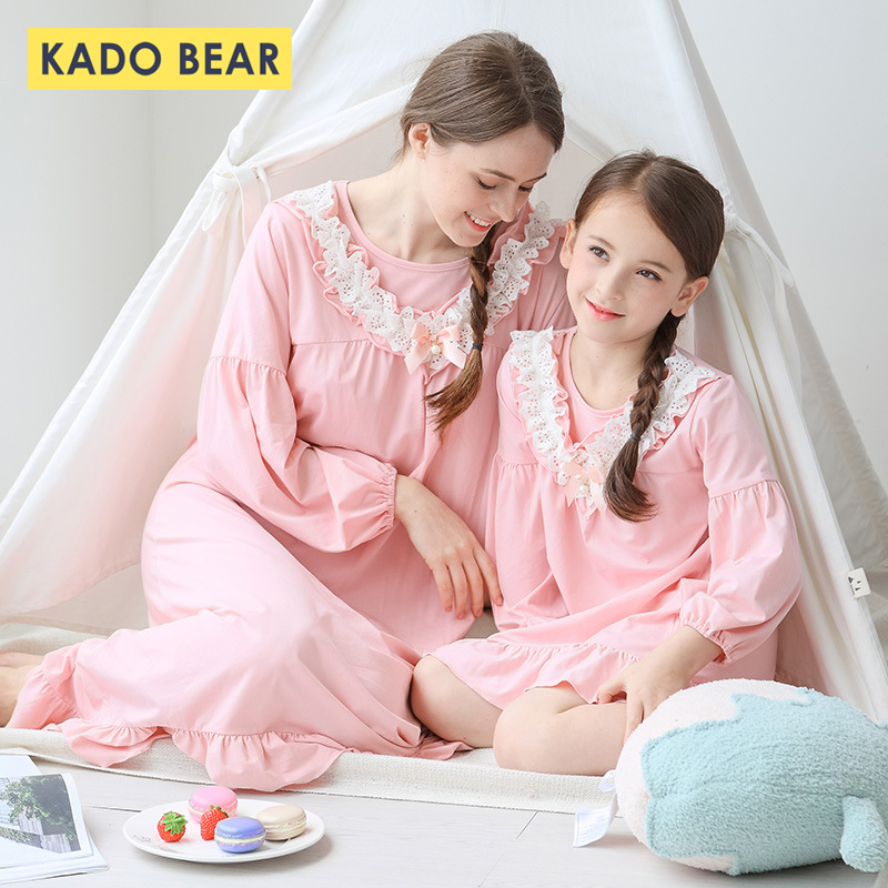 Girls Lace Nightgown Child Women Sleepwear Household Matching Youngsters Pajamas Mom Daughter Clothes Youngsters Pyjamas Outfits Garments Matching Household Outfits, Low cost Matching Household Outfits, Girls Lace Nightgown Child...