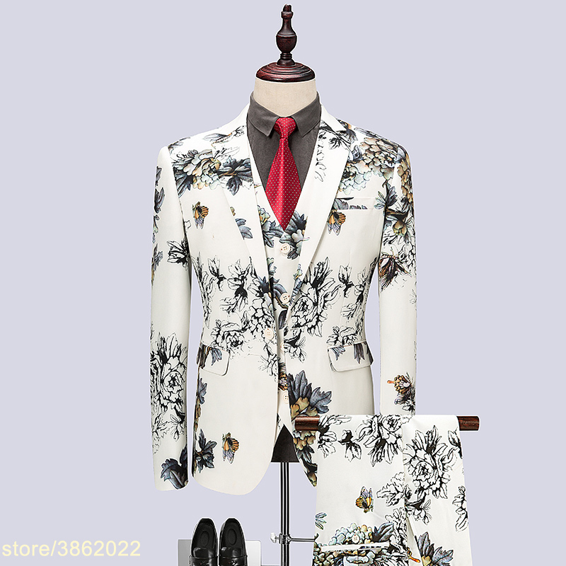 (Jacket Pants Vest) White Floral Men Suit 2018 New Chinese Style Host Man Show Dress Wedding Suits Oversized M 4XL 5XL 6XL #1859