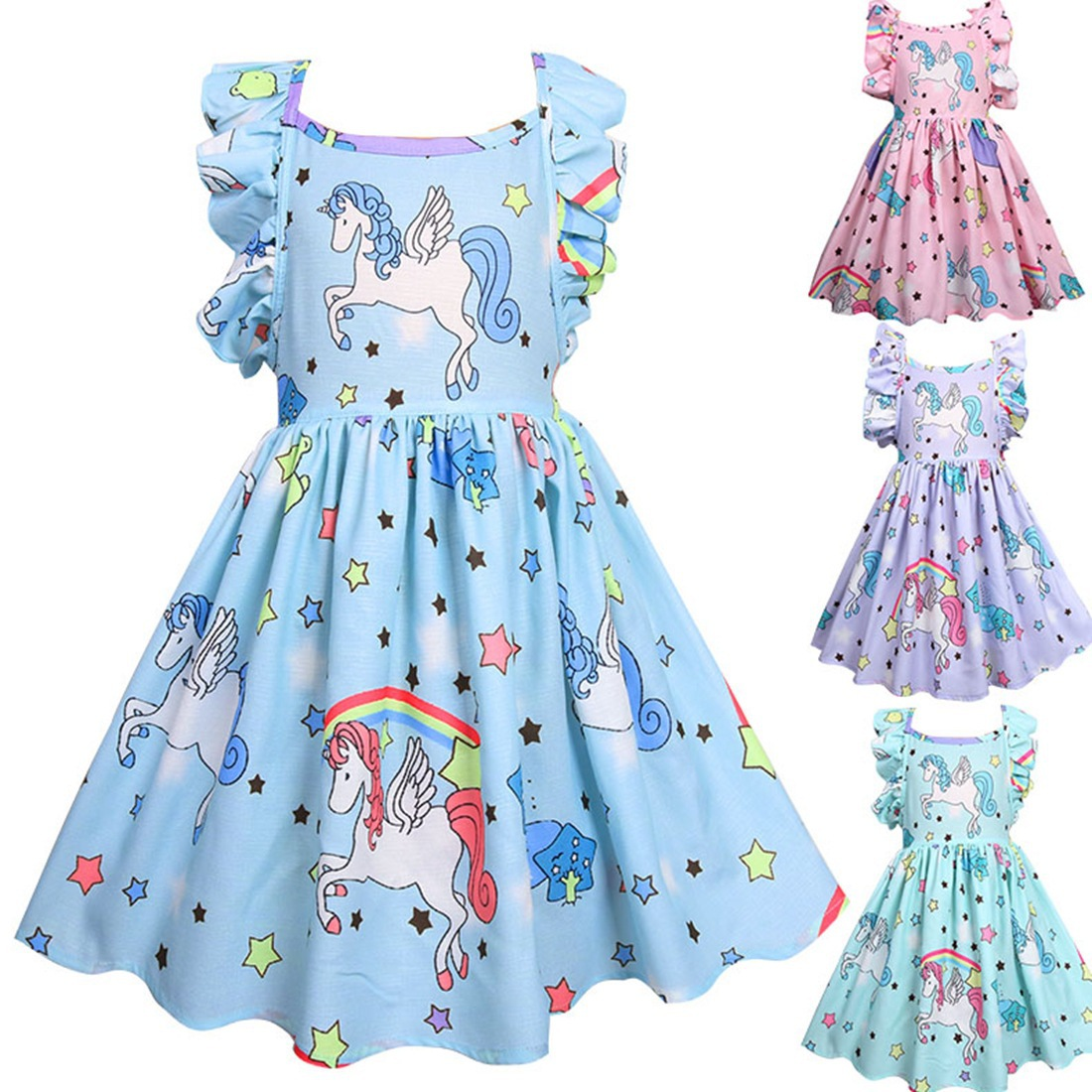 Pony Unicorn Rainbow Dress Girls Dresses For Party and Wedding Backless A-line Dress For Kids Clothes Unicornio Party Dress strappy backless dress for women