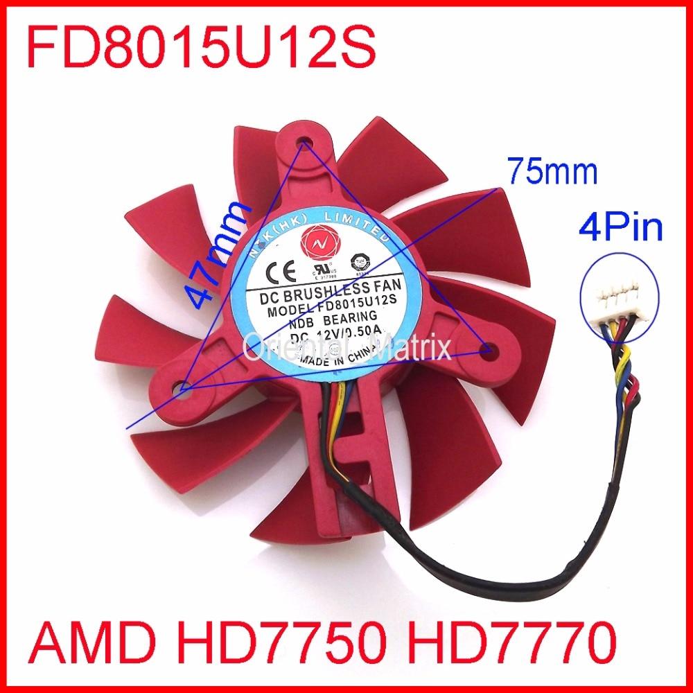 Free Shipping NTK FD8015U12S DC12V 0.50A 4Pin 75mm 47x47x47mm For AMD HD7750 HD7770 Graphics/Video Card Cooling Fan  new fitstd 75mm fd7010h12s fd8015u12s dc 12v 0 35a 0 5amp 4pin graphics video card cooling fan