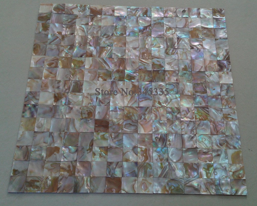 Natural Colorful Square Shell Mosaic Tile Groutless Mother Of Pearl Kitchen Bathroom Shower Wall Backsplash Background Tile
