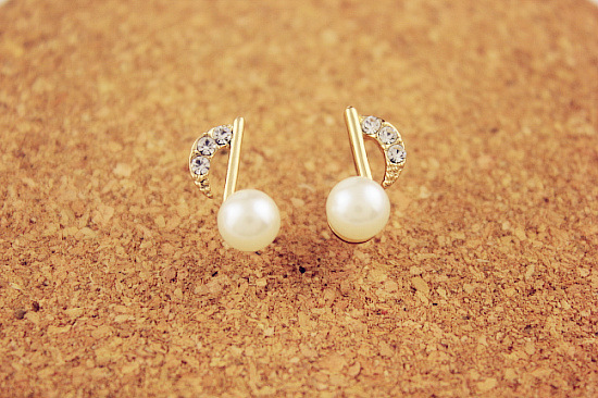 Music Tone Earrings Note Pearl Stud Gold Plated Musical Brincos Penntes Aretes Free Shipping In From