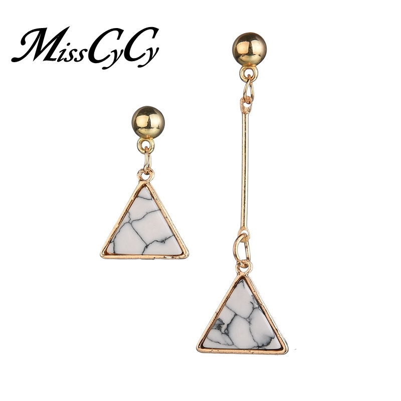MissCyCy Vintage Imitation Marble Stud Earrings for Women Asymmetric Triangle Earring Fashion Jewelry Accessories