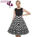ACEVOG Summer Casual Dress Women 1950s 60s Retro Vintage Style O-neck Sleeveless Patchwork Dot Party Big Swing Midi Dress