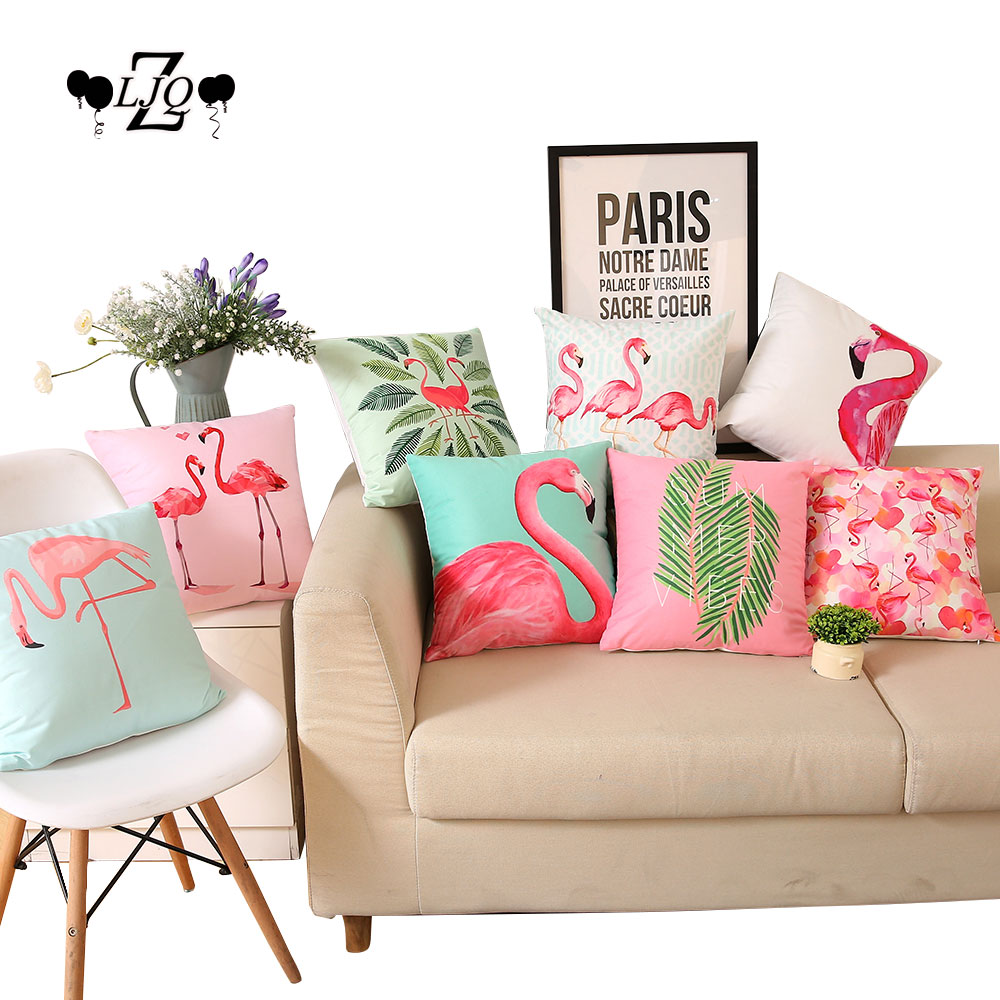 ZLJQ 1pcs Flamingos Party Square Throw Pillow Hawaii Beach Pool Luna Party Supplies Wedding Favor Party Gifts Home Decoration