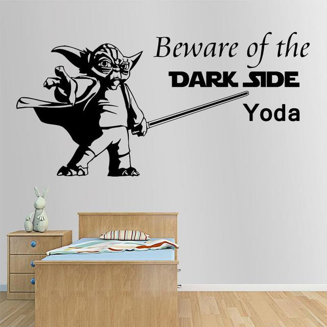 Art Design Interior Quote Star Wars Yoda Beware Of The Dark Side Wall  Sticker Home Decor
