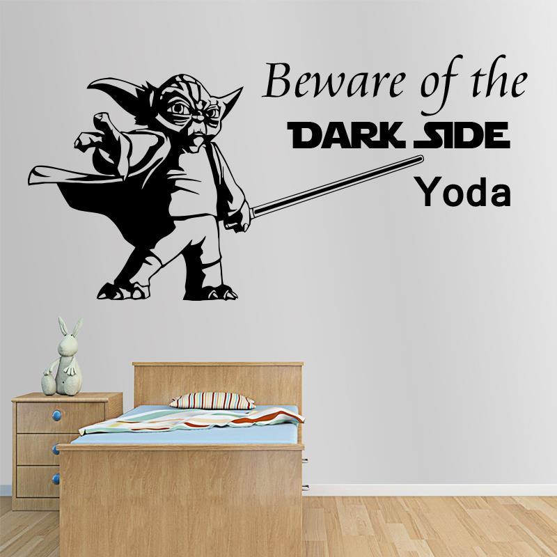 Art Design Interior Quote Star Wars Yoda Beware Of The Dark Side Wall Sticker Home Decor