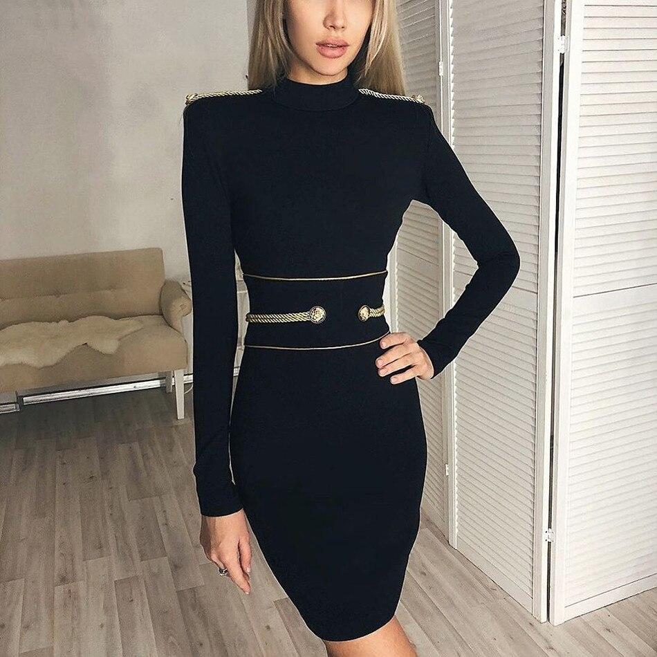 7e5cab11147 Hashupha 2019 Winter Bandage Bodycon Dress Women Sexy Elegant Slim Party  Red Full Sleeve Midi Celebrity