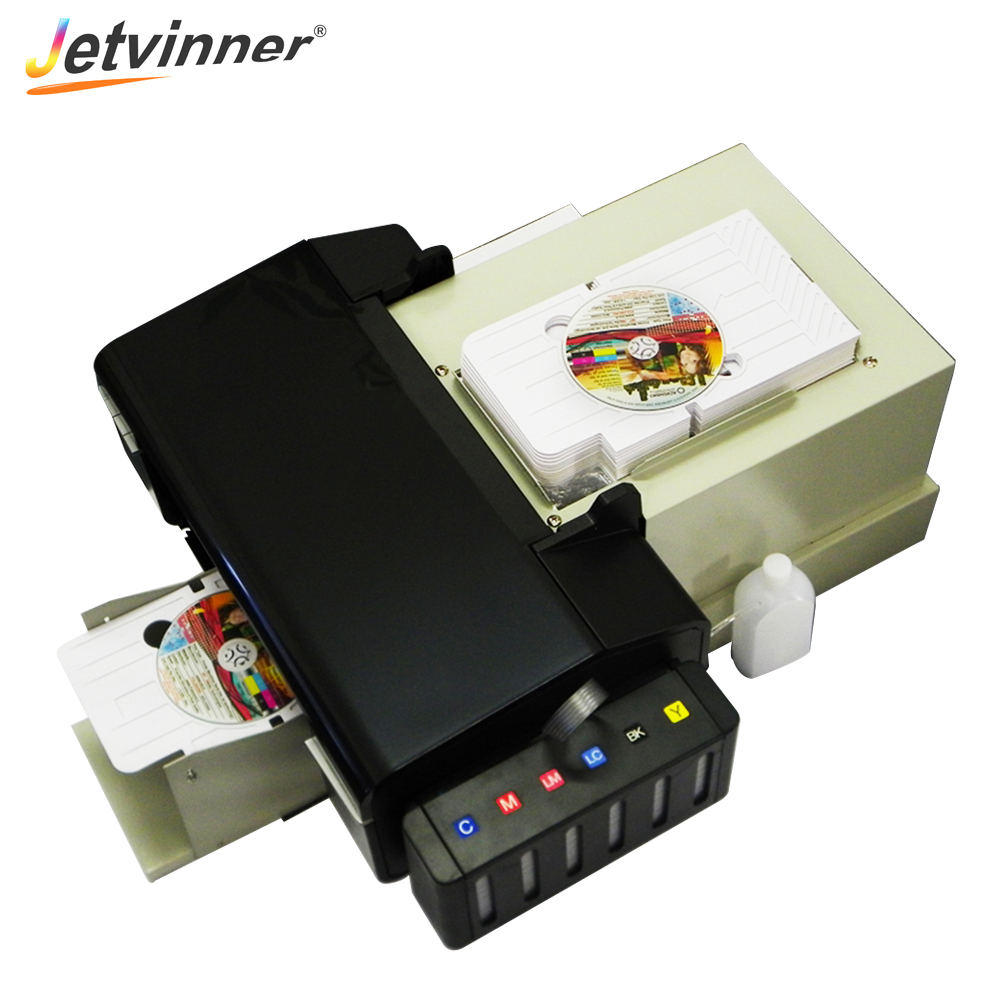 Jetvinner Automatic Digtal CD PVC Card <font><b>Printer</b></font> for <font><b>Epson</b></font> <font><b>L800</b></font> with 51pcs CD/PVC Tray Professional PVC Card Print Machine image