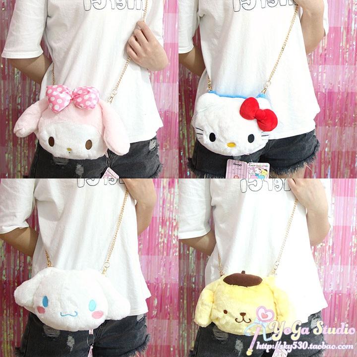 Cartoon Cute Hello Kitty My Melody Cinnamoroll Dog Pudding Dog Plush Bag Children Crossbody Bag Wallet Purse For Girls Gifts