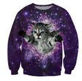 Harajuku 2016 New women/men casual 3d animal cat galaxy print sweatshirt homme/femme simple hoodies gang hip hop pullover