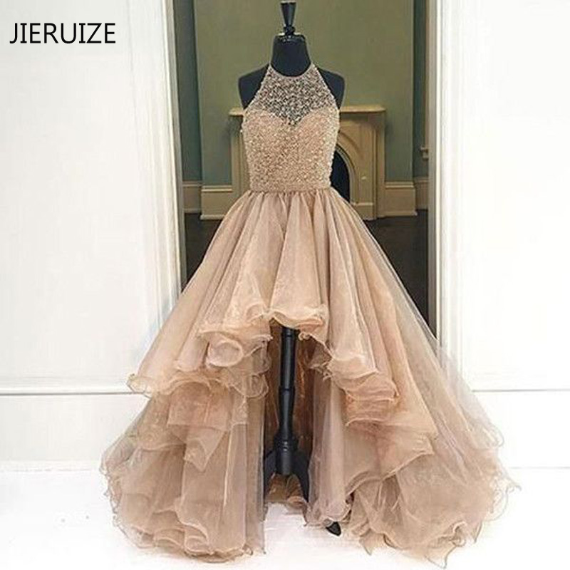 JIERUIZE Champagne Organza Beaded Hi Low Evening Dresses 2018 Halter Luxury Prom Dresses Front Short Long Back Formal Dresses